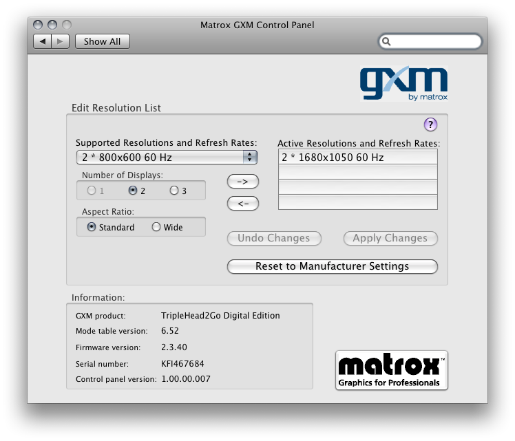 Matrox GXM Control Panel in System Preferences
