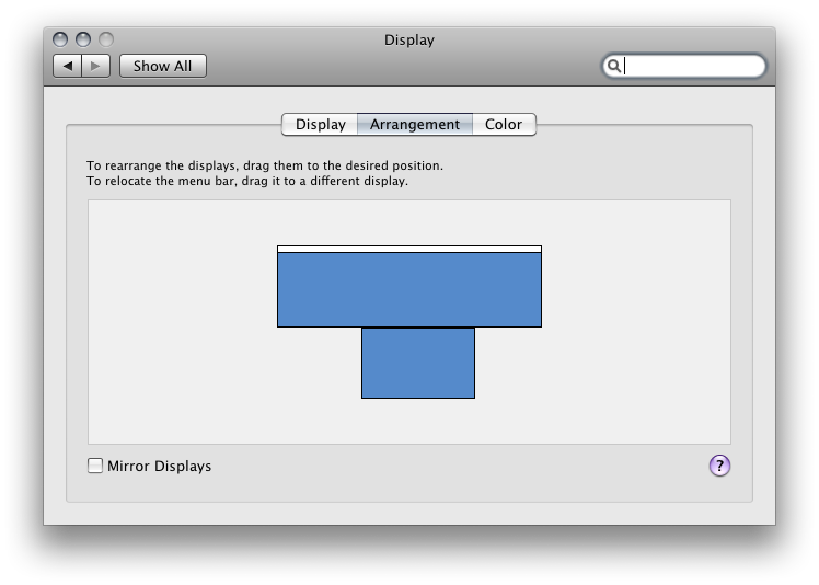 Display Arrangement on System Preferences /><br clear=